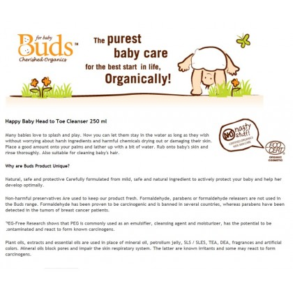 Buds Cherished Organics Happy Baby Head To Toe Cleanser 250ml